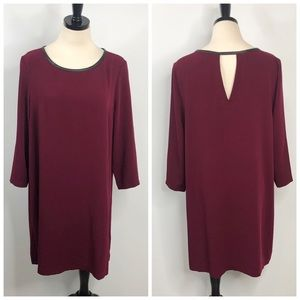 ECI Burgundy Leather Trim Back Cutout Shift Dress